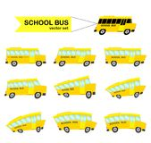 Set of distorted yellow School Buses isolated on white background. Back to School. Vector illustration: Set of distorted yellow School Buses isolated on white Royalty Free Stock Images