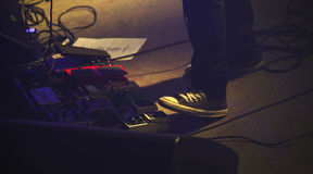 Set of distortion effect pedals Royalty Free Stock Image