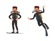 Set of diver posing and under water. Vector illustration. Of a flat design Royalty Free Stock Photo