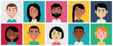 Set of Diverse Avatars for Profile Pictures Royalty Free Stock Images