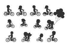Set of diverse bicyclists silhouettes, Happy family riding bikes , Family Biking Together, Sports family. family and bikes, bicycl Royalty Free Stock Images