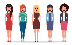 Set of diverse business characters, businesswomen dressed in different styles of clothes. Geometric people. Simple cartoon flat design. Vector illustration Stock Photos