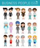 Set of diverse business people isolated on white background. Set of full body diverse business people.Different nationalities Royalty Free Stock Photos