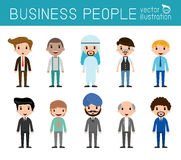 Set of diverse businessman people isolated on white background. Set of full body diverse business people. Royalty Free Stock Photography