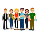 Set of diverse college or university students. Vector group of students. Cartoon illustration of students. Stock Photography