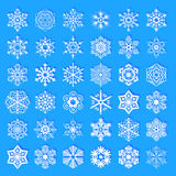 Set of diverse design snowflakes Royalty Free Stock Images