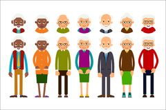 Set of diverse elderly people with avatars isolated on white bac. Kground. Aged people caucasian and african. Elderly men and women. Illustration in flat style Royalty Free Stock Photos