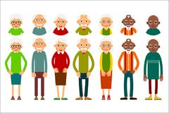 Set of diverse elderly people with avatars isolated on white bac. Kground. Aged people caucasian and african. Elderly men and women. Illustration in flat style Stock Photos