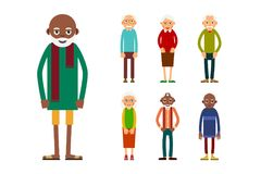 Set of diverse elderly people isolated on white background. Aged people caucasian and african. Elderly men and women. Illustration in flat style Royalty Free Stock Photography