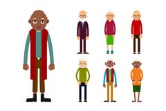 Set of diverse elderly people isolated on white background. Aged people caucasian and african. Elderly men and women. Illustration in flat style Stock Image