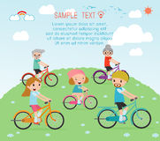 Set of diverse family riding bikes, Happy family riding bikes , Family Biking Together, people character cartoon concept. Sports f Stock Photo