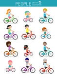 Set of diverse family riding bikes isolated on white background. Different nationalities and dress styles. Happy family riding bi Stock Photography