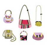 Set of diverse handbags stock illustration