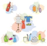 Set of Diverse Items Beauty/Cleaning/Clothes Icons Stock Images