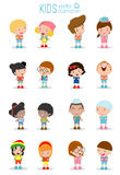 Set of diverse Kids and Different nationalities isolated on white background, Kids go to school, back to school, Cute cartoon chil. Dren, happy children, Vector Royalty Free Stock Photo