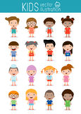 Set of diverse kids isolated on white background.Different nationalities and dress styles Stock Photography