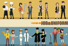 Set of diverse occupation professions, professional people. Flat design people characters royalty free illustration