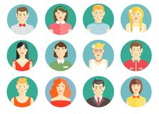 Set of diverse people avatar icons. With men and women  girls and boys   professional  smart  casual and sporty on round web buttons for online identity Royalty Free Stock Photos