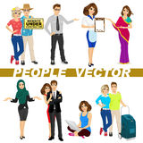 Set of diverse people characters royalty free illustration