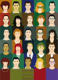 Set of diverse people. Illustrated set of diverse young men and women Stock Image