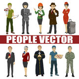 Set of diverse people. Various professions Stock Photography