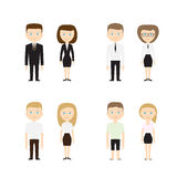 Set of diverse people on white background. Flat royalty free illustration