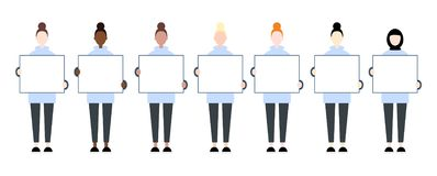 Set of diverse race female characters holding a blank placard. Women rights stock illustration