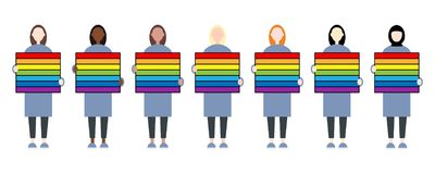 Set of diverse race female characters holding a rainbow sign. LGBTIQ community. Women rights royalty free illustration