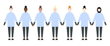 Set of diverse race sport women. Cute and simple modern flat style royalty free illustration