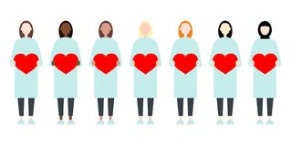 Set of diverse race vector women in long dresses holding hearts. Valentine Day sisterhood cute and simple modern flat style vector illustration