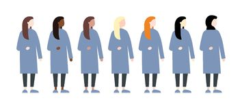 Set of diverse race vector women side view. Cute and simple modern flat style stock illustration