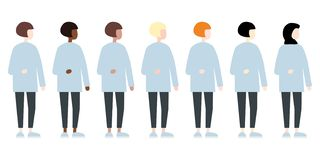 Set of diverse race vector women side view. Cute and simple modern flat style vector illustration