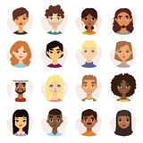 Set of diverse round avatars with facial features different nationalities, clothes and hairstyles. Cute different nationalities flat cartoon style faces Royalty Free Stock Images