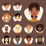 Set of diverse round avatars with facial features different nationalities clothes and hairstyles people characters. Set of diverse round avatars with facial Stock Images