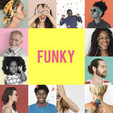 Set of Diversity People Funky Lifestyle Studio Collage royalty free stock photography