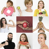 Set of Diversity People with Healthy Living Style Studio Collage Stock Photography