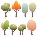 Set diversity of trees isolated on white background. Stock Photos