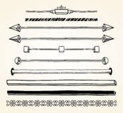 Set of dividers, hand drawn Stock Images