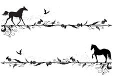 Set of dividers with horses. Set of vector dividers with horses, riven and thistle in black and white Stock Image