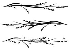 Set of dividers with rice. Set of vector dividers with rice in black and white stock illustration