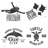 Set of Diving club badges. Stock Image