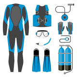 Set of diving equipment icon. Wetsuit, scuba gear and accessories Underwater activity sports item. Stock Image