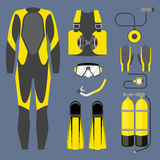 Set of diving equipment icon. Wetsuit, scuba gear and accessories Underwater activity sports item. Stock Photography