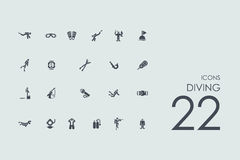 Set of diving icons Stock Photo
