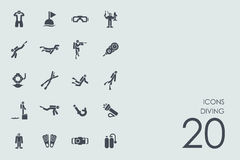 Set of diving icons Royalty Free Stock Images