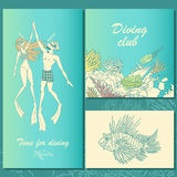 Set of diving illustrations. Couple of divers, coral reef, fish. Royalty Free Stock Images