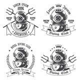 Set of diving labels, emblems Stock Images