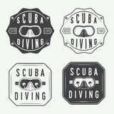 Set of diving logos, labels and slogans in vintage style. Stock Images