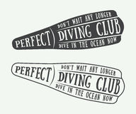 Set of diving logos, labels and slogans in vintage style. Stock Photography