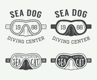 Set of diving logos, labels and slogans in vintage style. Royalty Free Stock Photo